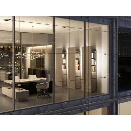 JERA  01  modern massiver Design Chefschreibtisch, Eckschreibtisch mit Servicecontainer, futuristische geometrische Stauraumlösungen, Schränke werden indirekt LED beleuchtet , mit Leder, Holzfarbe Ulme grau