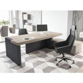 ERA  03  modernes imposantes Chefbüro mit Leder, Chefschreibtisch, Tischcontainer, Wandelemente und Hängeschränke, Ulme-grau, Design Komplettbüro
