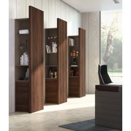 JERA  28  Design Regal, Büroschrank für Chefzimmer in Nussbaum, Steingaru mit Glasböden, indirekte LED-Beleuchtung dimmbar