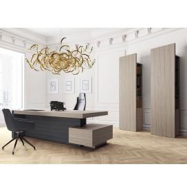 JERA  06  Design Manager Büro, Schreibtisch mit Ledersichtschutz, Totem-Schrank, Regal in Ulme-grau mit indirekter dimmbarer LED-Beleuchtung