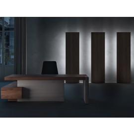 JERA  11  Designer Chefschreibtisch  mit Leder gepolstertem Gestell und Servicecontainer, Holzfarbe Nussbaum