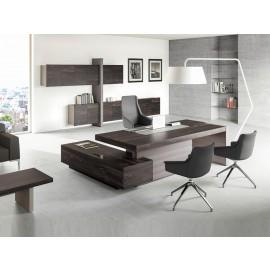 JERA  12  Design Chefbüro - Winkel-Schreibtisch,  Wandboard - Hängeschränke für Aktenordner in Holzfarbe Esche braun - steingrau