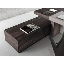 JERA 13 Chefbüro Schreibtisch mit modernem Winkel Serviceboard, push pull Schubladen,  Holzfarbe Esche braun
