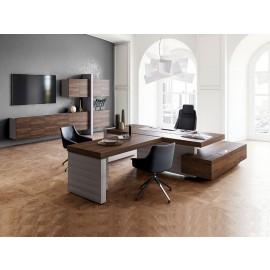 JERA  14.1  stilvolles Chefzimmer,  Schreibtisch mit Meetinganbau, Designer Büro preiswert einrichten, Leder Tischgestell, Eckschreibtisch, Wandboard, Hängeschränke, Holzfarbe Bali Nussbaum/Steingrau