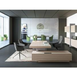 17 exklusiv Büromöbel, modernes Chefbuero, JERA Schreibtisch mit Anbaucontainer den passenden Bürostühlen,  Farbe Ulme, Tischgestell Leder grau