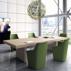 19 modern stilvoller Konferenztisch JERA, Chefzimmer Konferenzstühle, Meeting Tisch in Holzfarbe Ulme mit Tischgestell in grau Leder
