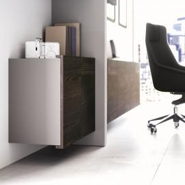 22 Büro Design Wandelement, Büro Hängeschrank, Stauraum, Sideboard, Holzfarbe in Esche braun