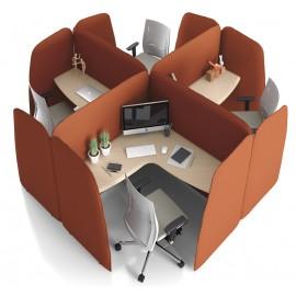 L1 01 Smart Office modular, Akustik-Arbeitsplatz, Schreibtische mit Schallschutz wirksamer Polsterung, kompakt Bauform