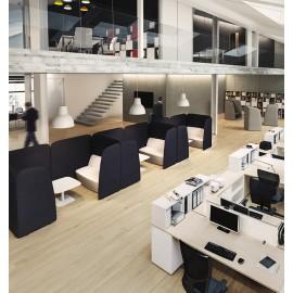 L1 04 modulare Design Lounge Insel mit Akustikschutz,  Sofa & Sessel, Kaffee Tisch, Sichtschutz sowie Schallschutz Eigenschaften