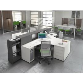LOGIC 02 Mitarbeiter, Sternschreibtisch innovativ im Design, viel Stauraum und intelligentes Ablage System, Büro Schreibtisch