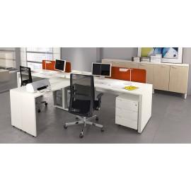 LOGIC 05 Büro-Arbeitsplatz, Schreibtisch organisiert modern in weiss