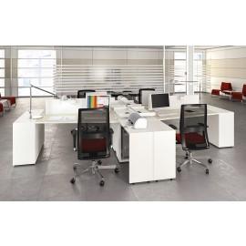 LOGIC 06 Team Arbeitsplatz, Schreibtisch zweifarbig, modern, kompakt mit viel Stauraum