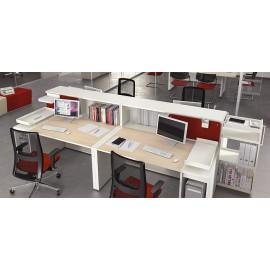 LOGIC 07 Team Schreibtisch mit Sichtschutz, Ablagen, zweifarbig, Stauraum Lösungen