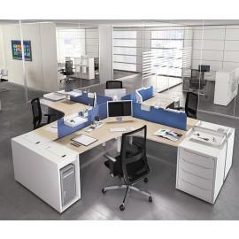 LOGIC 09 Teambüro Schreibtisch, Ablagen integriert mit Stauraum und Sichtschutz, individuell konfigurierbar