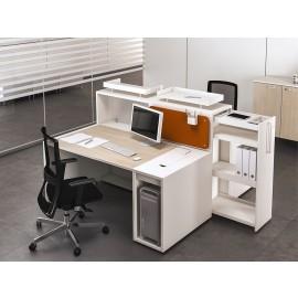 LOGIC 10 kompakter, genial logischer Arbeitsplatz, Schreibtisch mit Stauraum und Sichtschutz,  Ablagen-Container