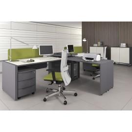 LOGIC 11 moderner Büro-Arbeitsplatz, Schreibtisch mit Schallschutz, Akustik-Paneel, Sichtschutz und Rollcontainer in Anthrazit