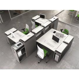 LOGIC 12 Team-Schreibtisch, Raumtrenner mit intelligenten Ablagen, Schallschutz, Sichtschutz, Rollcontainer, Farbe Anthrazit