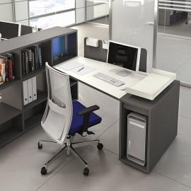 LOGIC 13 modern kompakter Büro Schreibtisch mit Sichtschutz und Regalablagen in weiß Anthrazit