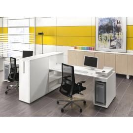 LOGIC 15 Mitarbeiter-Büro, Schreibtisch mit Sichtschutz und integriertem Ablagencontainer, Apothekerschrank, komplett in weiß möglich