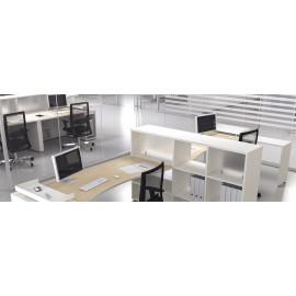 LOGIC 17 moderner Team Schreibtisch in Ahorn, weiß, Ablagemöglichkeiten