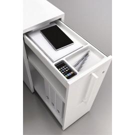 LOGIC 18 moderner Schreibtisch Standcontainer mit Ordner Ablage in weiß