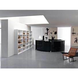 Mood 05 Büromöbel Empfangsbereich rund, Hochglanz schwarz lackiert, Graphit Glas