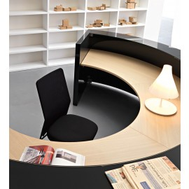 Mood 08 Details Designer Empfangsmöbel rund, Glas Graphit-schwarz
