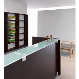 Mood 10 Details Büro Empfangstheke, geometrisch gerades Design Wengeholz