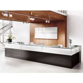 NICE 02 hochglanz Büro-Empfang, Tresen, Hotel Lobby oder als Bürotheke in weiß und schwarz mit Glasablagen