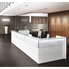 NICE 03 hochglanz LED Empfangstresen, Büro-Rezeption als Theke mit zentral steuerbarer Beleuchtung