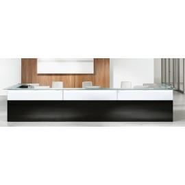 NICE 05 Glas Bürotresen, oder im Empfangsbereich als Hotel-Rezeption, weiß-schwarz mit Glastop satiniert