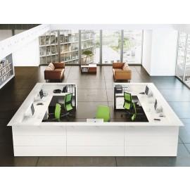 NICE 08 Bürotheke mit Büroschreibtisch Insel, Rezeption oder Countertresen mit Ablage, Top extra weißglas und mattweiss
