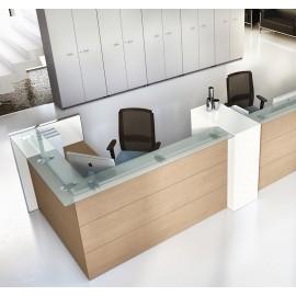 NICE 11 Büro-Rezeption mit viel Stauraum und Verkabelungsmöglichkeiten, als Praxis Empfang, mit Glas und Sandlärche
