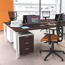 OXI 09 Teamschreibtisch, U-Gestell, Schreibtisch in Holzfarbe Wenge
