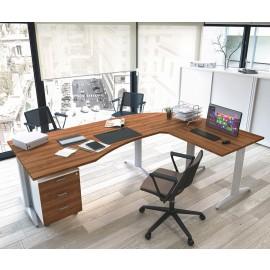 OXI 11 Büro-Schreibtisch mit T-Fußgestell, Winkelschreibtisch in Walnuß, Büroeinrichtung