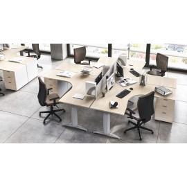 OXI 12 Sternschreibtisch T-Fußgestell, Winkelschreibtisch in Ahorn, Team-Büroeinrichtung