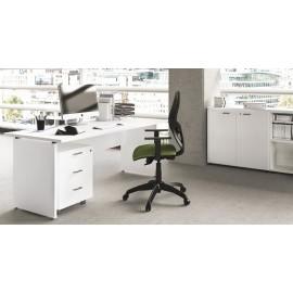 OXI 14 Büroschreibtisch, geschlossenes Fußgestell in weiß, Büro-Sideboard, günstig