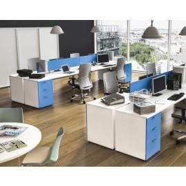 OXI 17 Trend Büro, Großraum-Schreibtische, Schiebetürenschrank, Standcontainer, Akustikschutz, zweifarbig