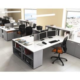 OXI 19 Büro modern mit Stauraum, Winkelschreibtisch, Standcontainer, Sichtschutz, zweifarbig