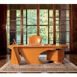 PRIOR Desk 04 hochwertig in handarbeit hergestellter Design Chef Schreibtisch, Leder einzigartig verarbeitet