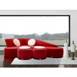 s-11 02  stylisches Design Ecksofa, Lounge Bumerang Couch, passende Hocker mit Kissen, zweifarbige Materialauswahl möglich