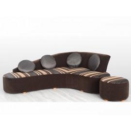 s-11  03  Design Polster Ecksofa, Lounge Eckcouch im Bumerang Stil,  kann zweifarbig mit Stoff- und Leder bezogen werden