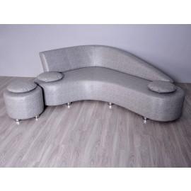 s-11  06  Leder Ecksofa  + Hocker + Kissen,  exklusive Loungemöbel im Bumerang Stil, Komfortcouch lädt zu gemütlichen Verweilen ein