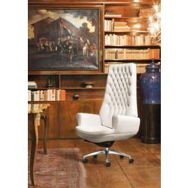 San Giorgio  02 hochwertiger Leder Bürostuhl mit Knopfsteppung
