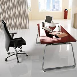 Seventies 05 exklusiv Büro-Schreibtisch zeitlos, Tischplatte in Glas rubinrot