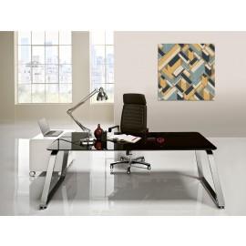 Seventies 06 exklusiv Büro-Schreibtisch im Retrodesign, Glas schwarz