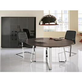 Seventies 11 Chefzimmer, runder Meeting-Tisch, Chrom, Tischplatten Oberfläche Lärche