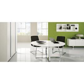 Seventies 12 Retro Design Büromöbel, runder Besprechungs-Tisch
