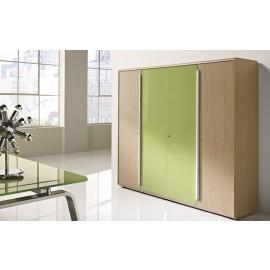 Seventies 14 Aktenschrank, Glas, Holz ,Retro-Design Möbel