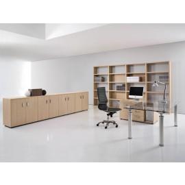 Studio 03 exklusiver Glasschreibtisch mit Tischcontainer, Chefbüro